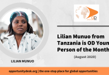 Lilian Munuo from Tanzania is OD Young Person of the Month for August 2020!