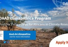 Call for applications Postdoc fellowships | DAAD climapAfrica: Africans in climate research | 13.07.20 – 14.09.20