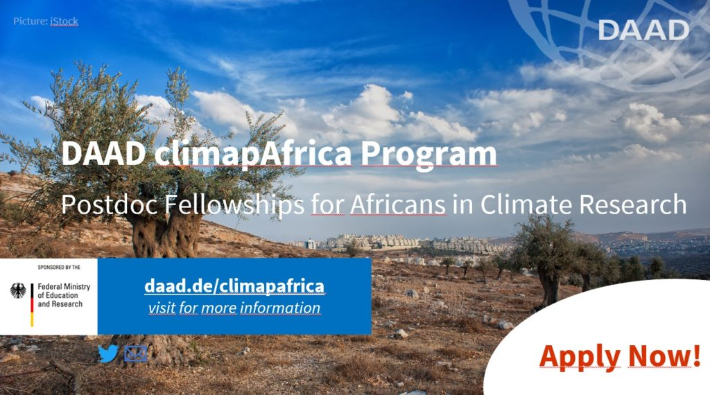 Call for applications Postdoc fellowships   DAAD climapAfrica: Africans in climate research   13.07.20 – 14.09.20