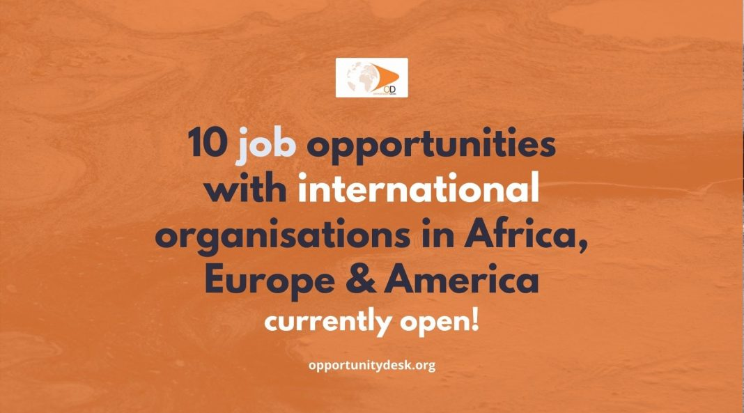 10 Job Opportunities with International Organisations in Europe, America and Africa