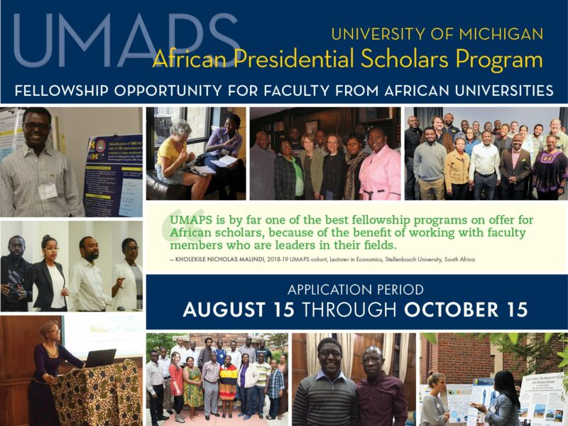 University of Michigan African Presidential Scholars (UMAPS) Program 2021/2022 (Fully-funded)