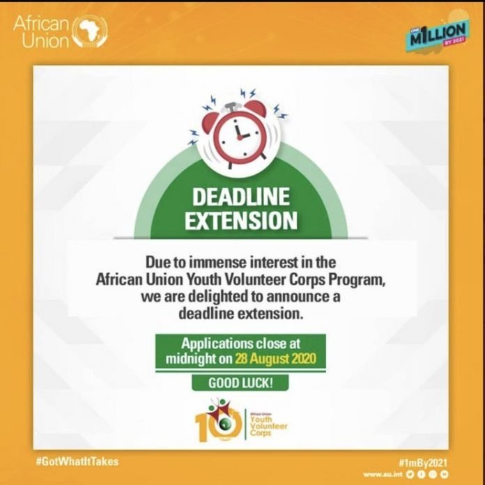 Deadline Extended: African Union Youth Volunteer Corps (AU-YVC) 2020 for young African Professionals (Fully Funded)