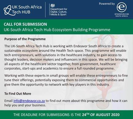 Endeavor South Africa UK-South Africa Tech Hub Ecosystem Building Programme 2020