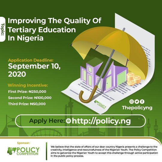 The Policy Competition 2020 for young Nigerian undergraduate Students (N400,000 Naira Prize)