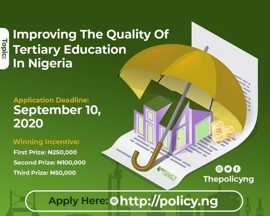 Policy Competition 2020 for Undergraduate Students in Nigeria (up to N250,000)