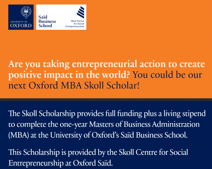 2021/2022 Skoll MBA Scholarship in Social Entrepreneurship at the University of oxford's Saïd Business School (Fully Funded)