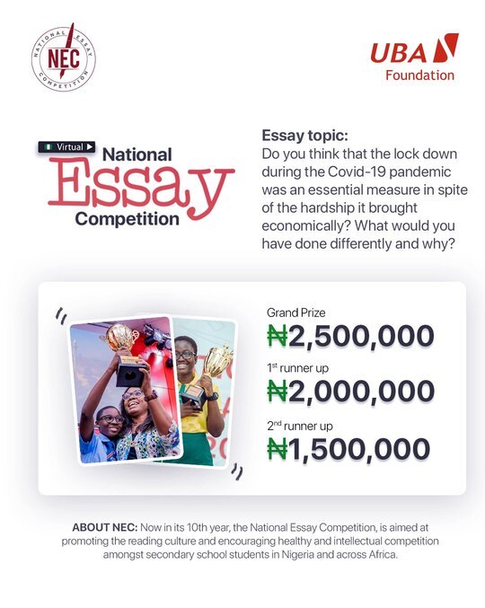 UBA Foundation 2020 National Essay Competition for Nigerian senior secondary students (6 Million in Prizes)