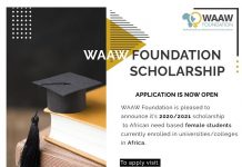 WAAW Foundation Scholarship 2020/2021 for African Female Students in STEM