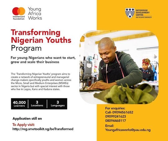 Young Africa Works-Mastercard Foundation/EDC Transforming Nigerian Youths Program 2020 for young Nigerians