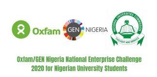 Oxfam/GEN Nigeria National Enterprise Challenge 2020 for Nigerian University Students (up to N2.5 million in prizes)