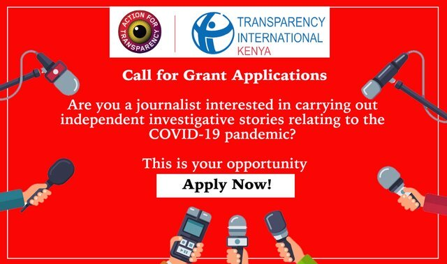 Transparency International Kenya Grants 2020 for Investigative Reporting for Kenyan Journalists