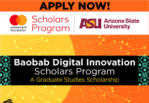 Mastercard Foundation/Arizona State University Baobab Digital Innovation Scholarship 2021/2022 (Fully-funded)
