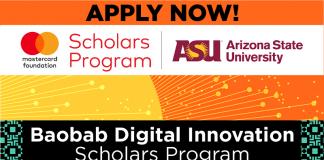 Mastercard Foundation/Arizona State University Baobab Digital Innovation Scholarship 2021/2022 (Fully-funded)