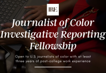 IRE Journalist of Color Investigative Reporting Fellowship 2020 for U.S. Journalists