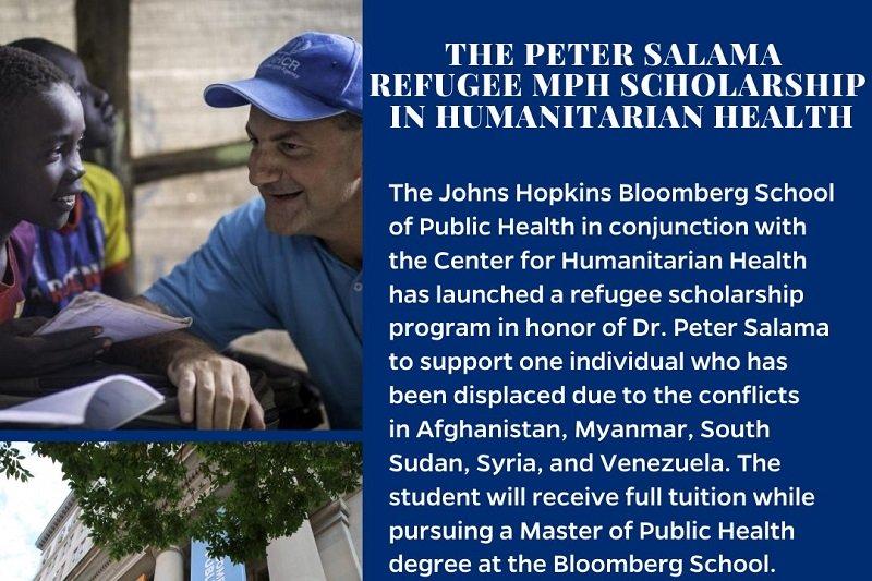 Peter Salama Refugee MPH Scholarship 2020/2021 in Humanitarian Health at John Hopkins University