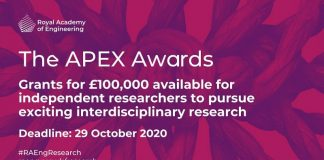 APEX Award 2021 for Researchers in the United Kingdom (up to £100,000)
