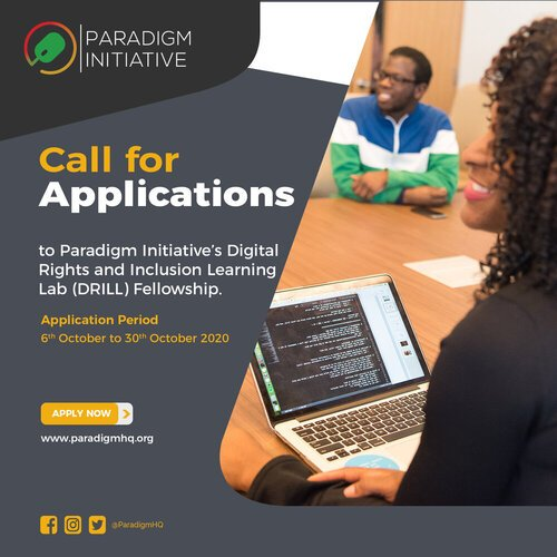 Paradigm Initiative's Digital Rights and Inclusion Learning Lab (DRILL) Fellowship 2021 for young Africans