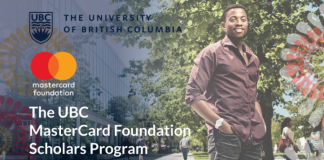 University of British Columbia Mastercard Foundation Scholars Program 2021/2022 for study in Canada (Fully Funded)