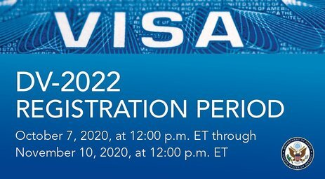 USA State Department Electronic Diversity Immigrant Visa Program (DV-2022): Live and Work in the United States of America.