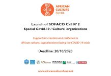African Culture Fund SOFACO Grant 2020 for Cultural Organizations in Africa – Batch 2 (up to $5,000)