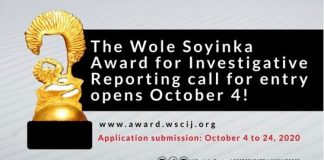 2020 Wole Soyinka Award for Investigative Reporting for Nigerian Journalists