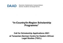 Tanzanian-German Centre for Eastern African Legal Studies (TGCL) Scholarships 2021 for young Africans