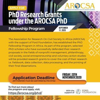 The Association for Research On Civil Society In Africa (AROCSA) PhD Fellowship 2020 (US$3,500 Grant)