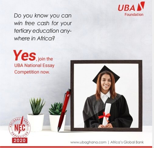 UBA National Essay Competition 2020 for senior secondary school students in Ghana (USD$ 10,000 in Scholarships)