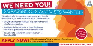 Call for Application: CIVICUS co-creation team for grassroots activists from the Global South.