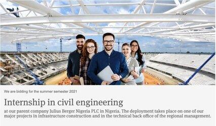 Julius Berger Nigeria Internship 2021 in Civil Engineering
