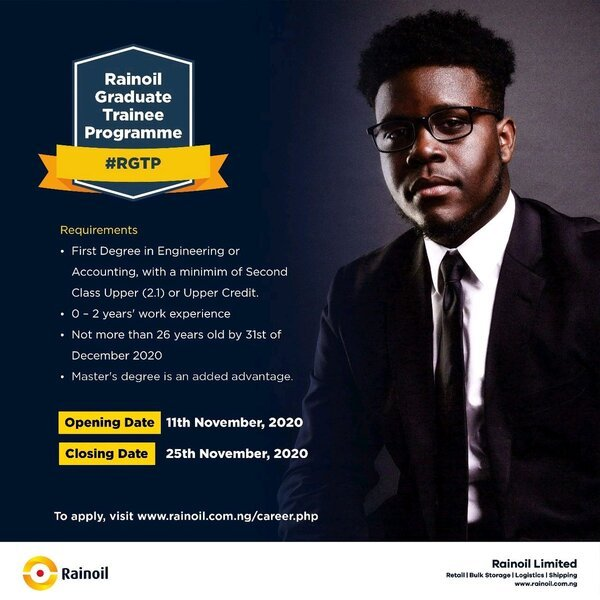 Rainoil's Trainee Program 2020 for young Nigerian graduates