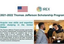 Thomas Jefferson Tunisia Undergraduate Scholarship Program (UGRAD) 2021/2022 for young Tunisians to study in USA (Fully Funded)