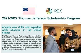Thomas Jefferson Tunisia Undergraduate Scholarship Program (UGRAD) 2021/2022 for young Tunisians to study in USA (Fully Funded)