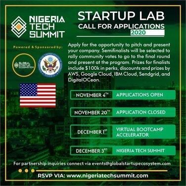 Nigeria Tech Summit 2020 Startup Lab for Nigerian Entrepreneurs