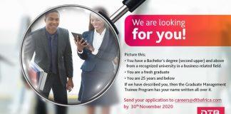 Diamond Trust Bank (DTB) Graduate Management Trainee Program 2020 for young graduates