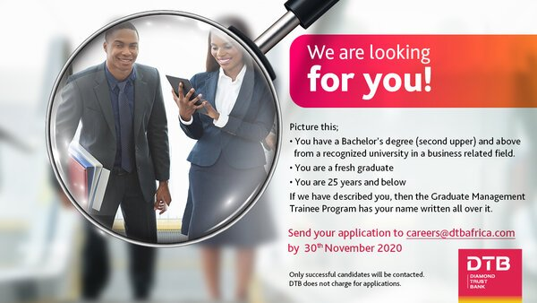 Diamond Trust Bank (DTB) Graduate Management Trainee Program 2020 for young graduates