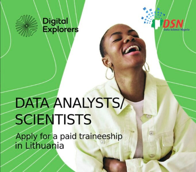Digital Explorers Female Track Data Analyst Program 2020 for entry-level Nigerian female data analysis/data science specialist (Paid Traineeship in Lithuania)