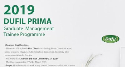 Dufil Prima Foods Plc Graduate Management Trainee Programme 2020 for young Nigerian graduates.