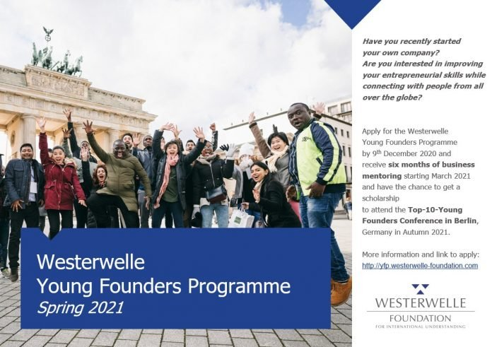 Westerwelle Young Founders Programme Spring 2021 for young Entrepreneurs from emerging and developing countries (Fully Funded to Berlin, Germany)
