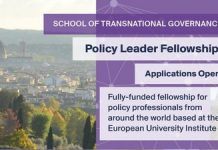 European University Institute (EUI) STG Policy Leader Fellowship 2021/2022 (Fully Funded to Florence, Italy with € 2,500 Monthly Grant)