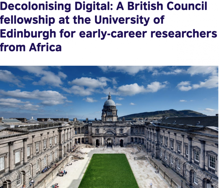 British Council Fellowship 2021 at the University of Edinburgh for early-career researchers from Africa