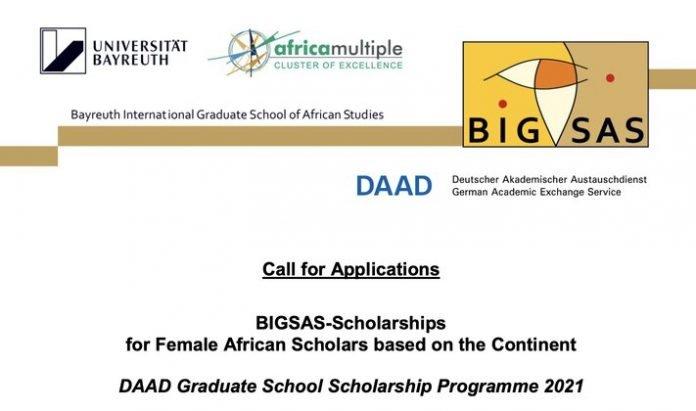 BIGSAS/DAAD Graduate School Scholarship Programme 2021 for female African Scholars