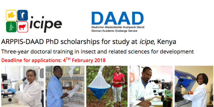 ARPPIS-DAAD PhD Scholarships 2021 for study at the International Centre of Insect Physiology and Ecology (icipe),Kenya