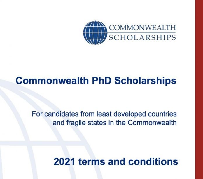 Commonwealth PhD Scholarships 2021 (for least developed countries and fragile states) to Study in the UK (Fully Funded)