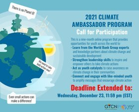 World Bank Group/GYCN 2021 Climate Ambassador Program for young Leaders.