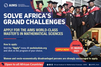 African Institute for Mathematical Sciences (AIMS) 2021 Master's degree in mathematical sciences Scholarships (Fully Funded)