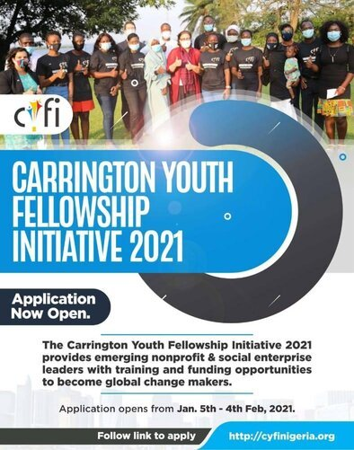 Carrington Youth Fellowship Initiative (CYFI) 2021 for emerging nonprofit and social enterprise leaders.