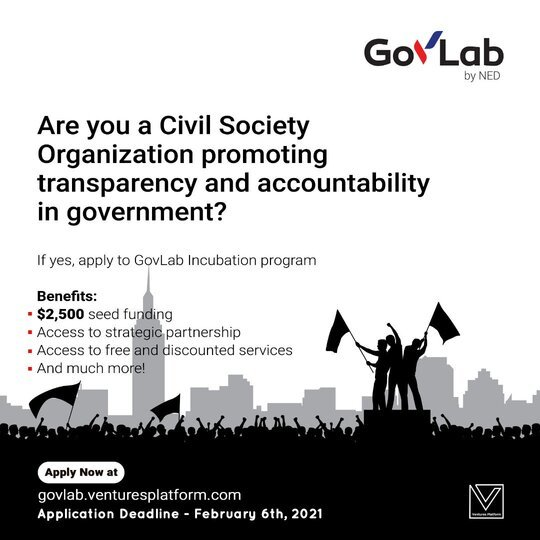 Gov Labs by NED Incubation Program 2021 for Civil Society Organizations ($2,500 worth of equity-free funding)