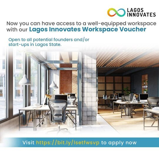 Lagos Innovates Workspace Voucher Program 2021 for startups and founders in Lagos, Nigeria.