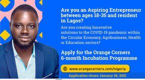 Orange Corners Nigeria Incubation Programme 2021 for young Entrepreneurs.